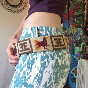Vintage Accessories - Handmade Vintage Needlepoint Animal Print Belt